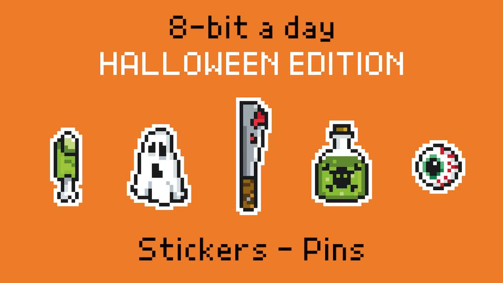 8bit a day - Halloween Edition - Stickers & Enamel Pins
