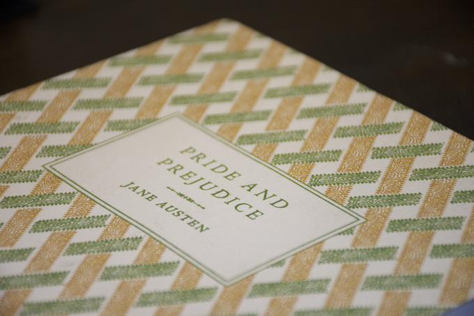 PRIDE AND PREJUDICE bound in a letterpress paper-wrapper.