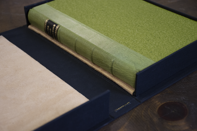 PRIDE AND PREJUDICE bound in Moroccan leather with paste paper boards.