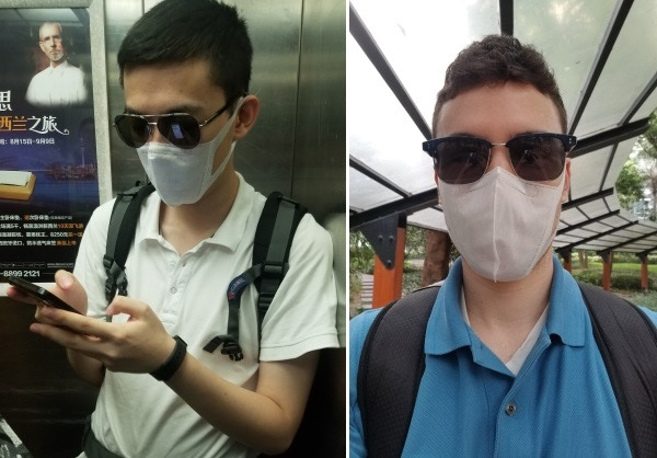 George and Alex protecting their lungs on a high pollution day in Shenzhen.