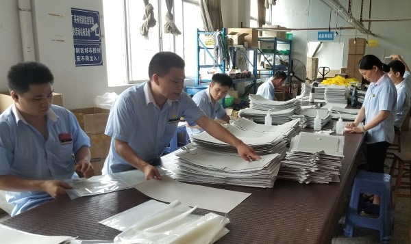Assembly line at our cover factory.