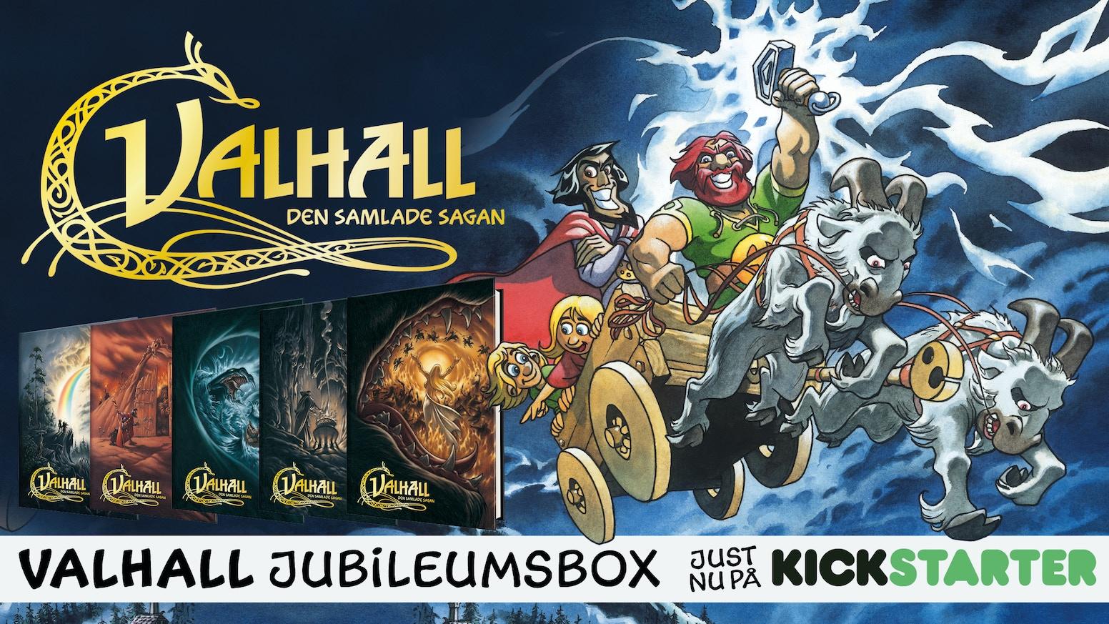 Det är 40 år sedan det första seriealbumet med VALHALL kom ut. Det ska vi fira! Och som vi firade sen – medett svenskt Kickstarter-rekord som gjorde att vi kunde ta fram den mäktigaste samlingsboxen i mannaminne!