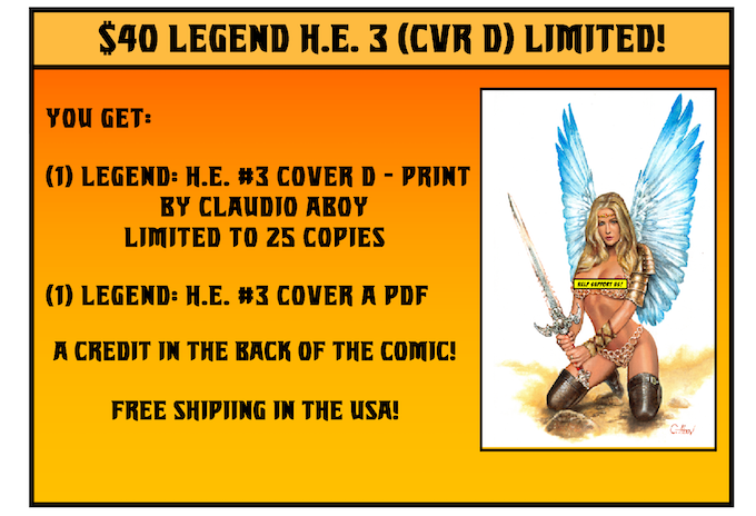 NOTE TO PLEDGES: If you want all of the additional Legend: HE #3 Covers A, B, & C, then select this option and add $40 to your pledge.