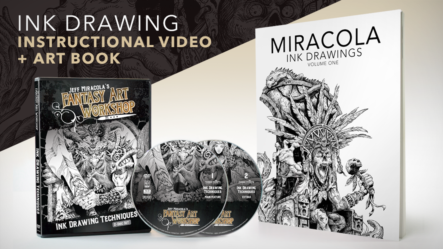 An inking techniques video in DVD/Digital Download format and a book of ink drawings by world-renowned fantasy artist Jeff Miracola.