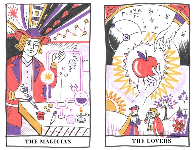 Early drawings and design for major arcana cards