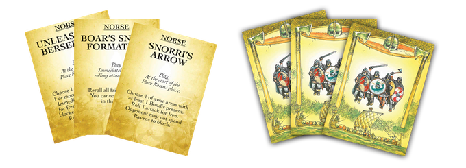 Samples of Norse Tactics Cards.