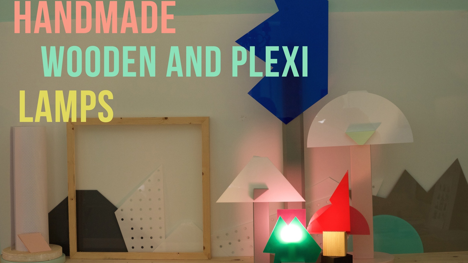 A unique handmade set of plexiglass and wood lamps, Made in Italy