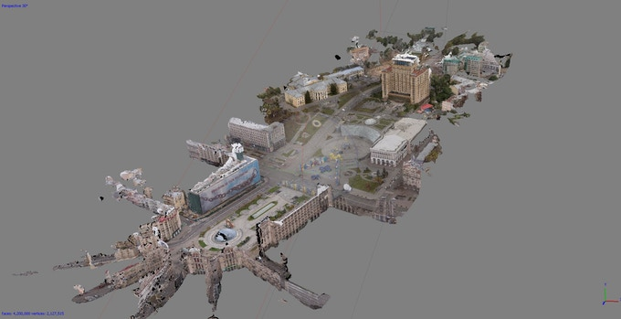 Approximately 190,000 sq. meters (about 2,045,000 sq. feet) was scanned via drone and by hand to create the 3D model used in Aftermath VR: Euromaidan. This entire area is viewable in a VR headset with walkable access in the VR experience to approximately 15,000 sq. meters (about sq. 161,500 feet).