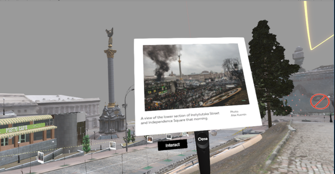 A screenshot from inside a scene in Aftermath VR: Euromaidan.