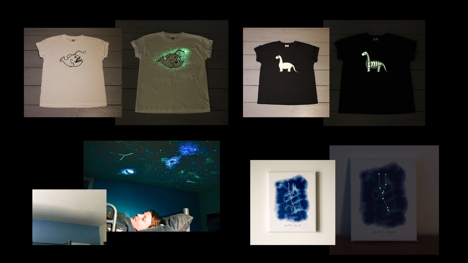 Glow In The Dark Art Appears At Night On Ceilings T Shirts By Zoe