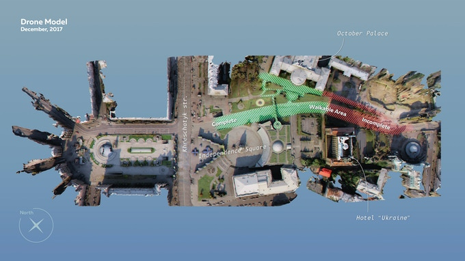 A demo model of Independence Square and Instytutska Street in Kyiv, Ukraine created from stitching together 1,892 photographs shot from a drone.