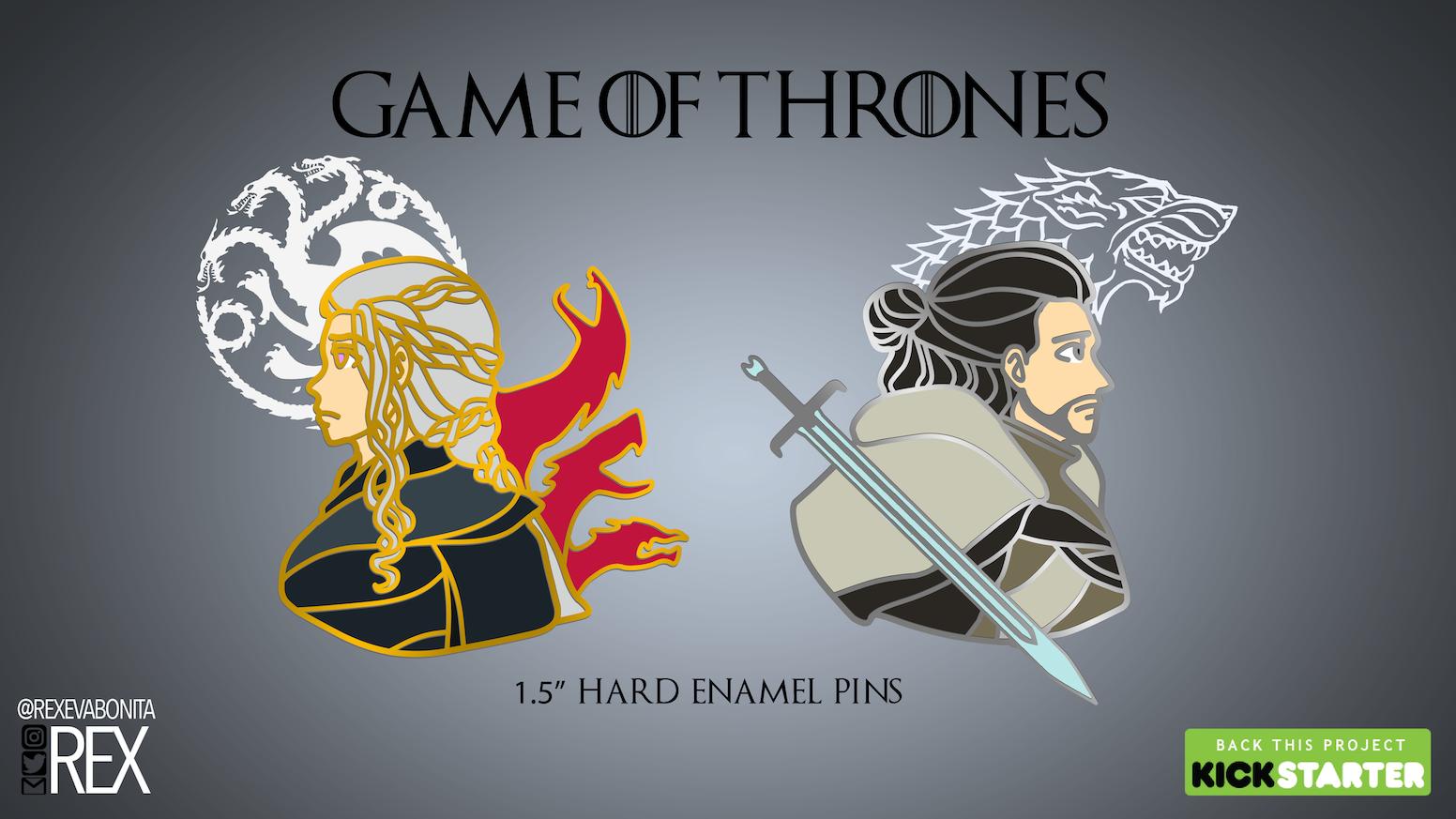 7e464afdf92 WINTER IS HERE! Creating Game of Thrones hard enamel pins of Daenerys  Targaryen and Jon