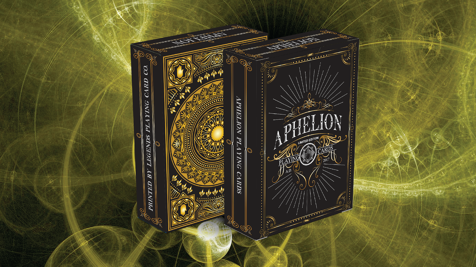 Black limited edition of Aphelion playing cards. Deck made for collectors and magicians. Printed by LPCC on classic finish (Taiwan)