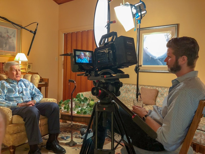 Director, Zachary Weil, interviews former NASA engineer Brooks Moore at his home in Huntsville.