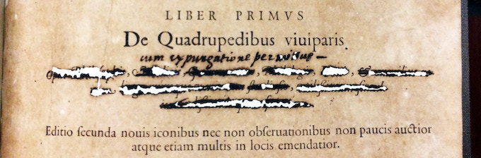 From our exhibit: an inquisitor's marks on the title page of a 16th century encyclopedia, certifying that it has been expurgated as the Inquisition required.