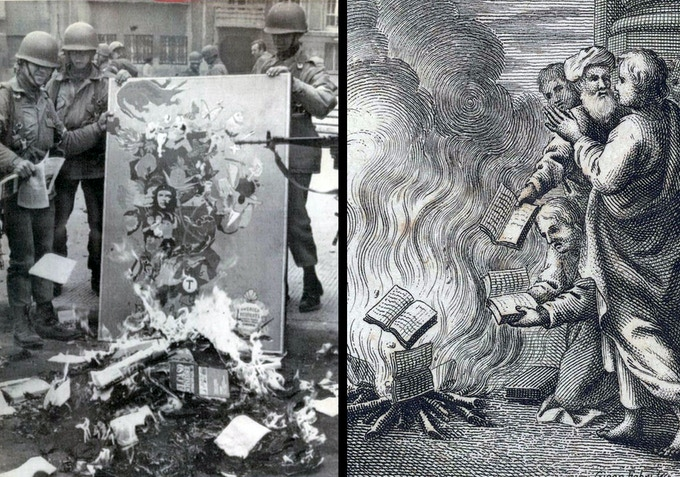 From our Brief History of Book Burning: destroying books has a very different meaning now that a book costs an hour's wages compared to what it meant when one Medieval manuscript could cost as much as a house.