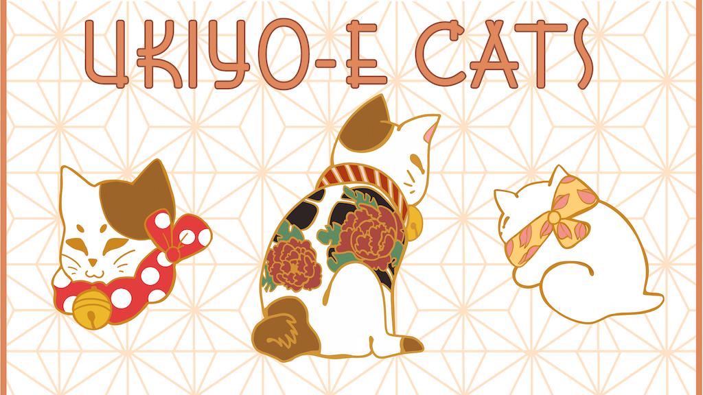 Ukiyo-e Cats: A Hard Enamel Pin Set
