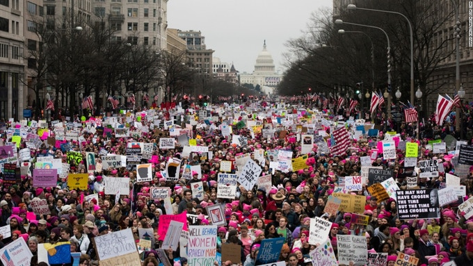The incredible first Women's March. We are here and not going away!
