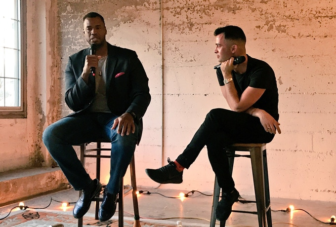 With Jason Collins - the first openly gay NBA player at a one pop up