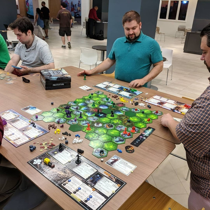 Playtesting at a meet-up in Crystal City -- first time we've ever played a 4x game standing up!