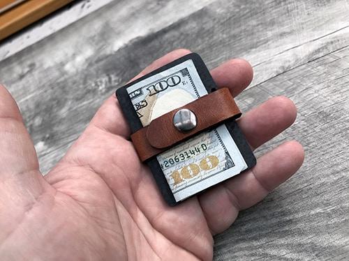 Prototype leather retaining strap/money clip