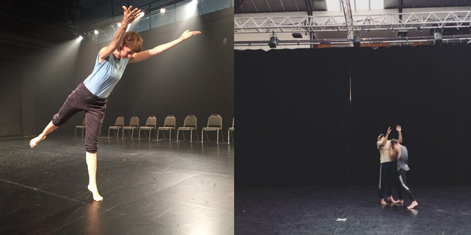 (L) Lindsey Jones in residence at NCC Akron. (R) Burr Johnson and Dylan Crossman in residence at CNN Ballet de Lorraine.