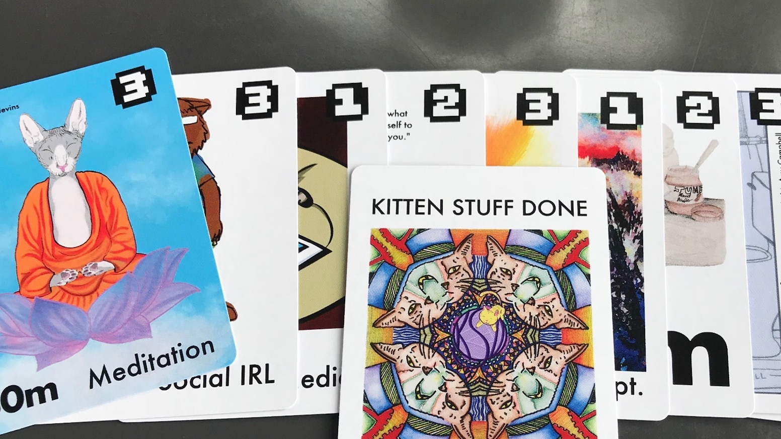 "A revolutionary productivity tool that uses a deck of ""kitten cards"" to plan your day. It's like Deal-A-Meal meets GTD meets Magic."