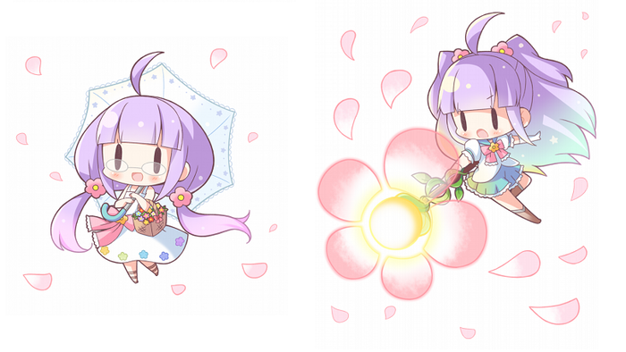 Normal Form: Flower Girl (on the left) | Awakened Form: Magical Girl Who Saves the Planet (on the right)