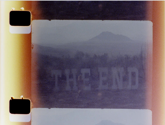 The End (16mm film still) — built letters on burnt ranch (the set of the Misfits, 1961), Nevada