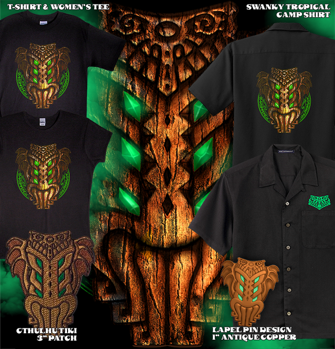 The finished Tiki Cthulhu design that will grace the T-shirt, Women's Fitted Tee, and Tropical Camp Shirt, plus the lapel pin and NEW Embroidered patch!