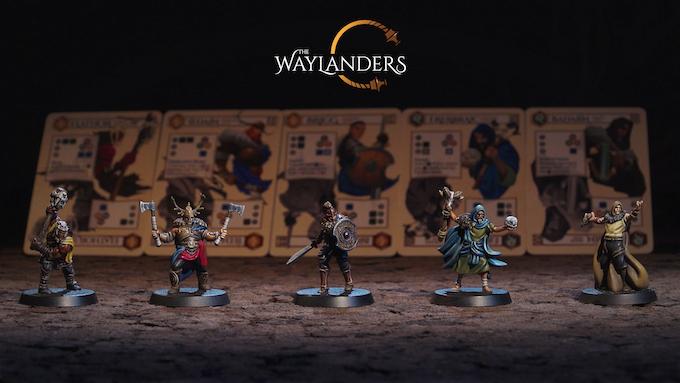Miniaturas de The Waylanders con sus cartas de personaje  al fondo