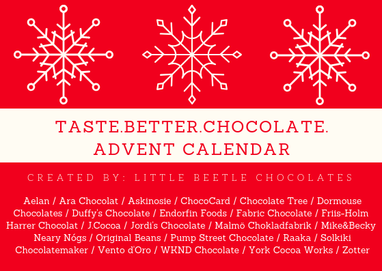 Official list of chocolate makers included in the first edition of Taste. Better. Chocolate. Advent Calendar