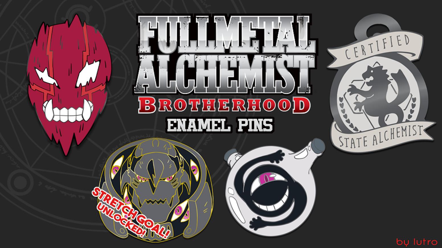 Fullmetal Alchemist: Brotherhood Enamel Pins by Oliver Lutro