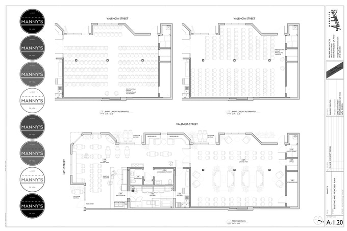 This is the floor plan of Manny's - note the coffee bar on the left, bookshop in the middle, and event space on the right