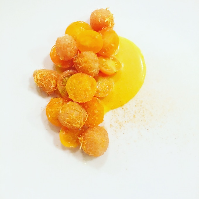 Sungold tomatoes and golden raspberries