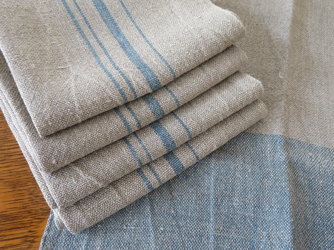handwoven natural and indigo linen towels