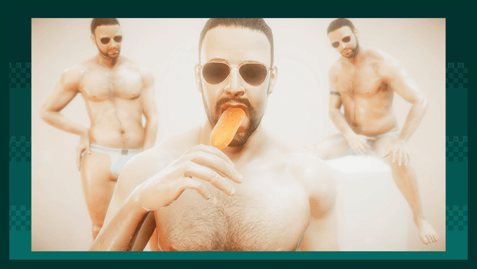 Screenshot of Succulent (2017), part of the gay sex triptych Radiator 2 by Robert Yang