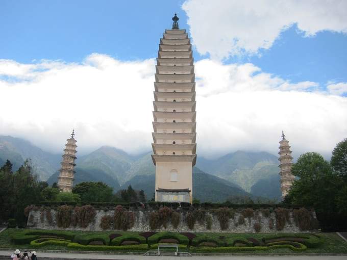3 Pagodas at Chongsheng Temple, Dali, Yunnan Province.  photo: Burnett Thompson