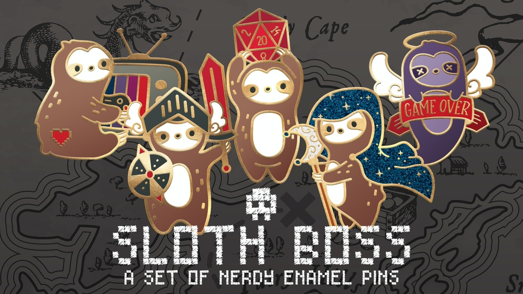 Sloth Boss Enamel Pins - Nerdy Sloth Pins for Avid Gamers