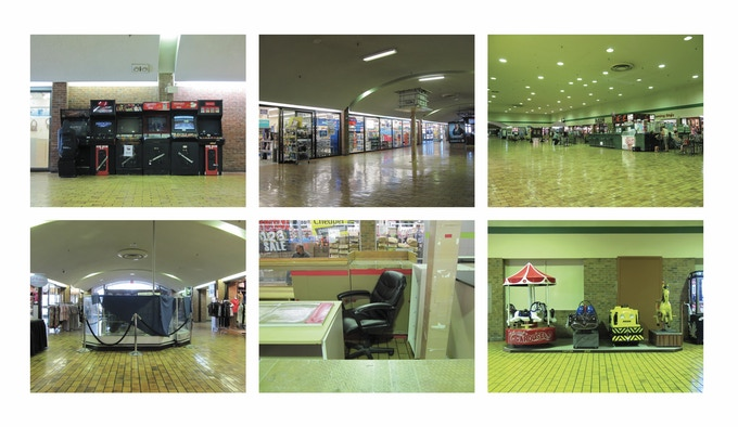 Arcade games, missing kiosk, big space, kiosk, chair, rides
