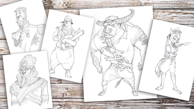 Random doodles of amphomorphic animals.