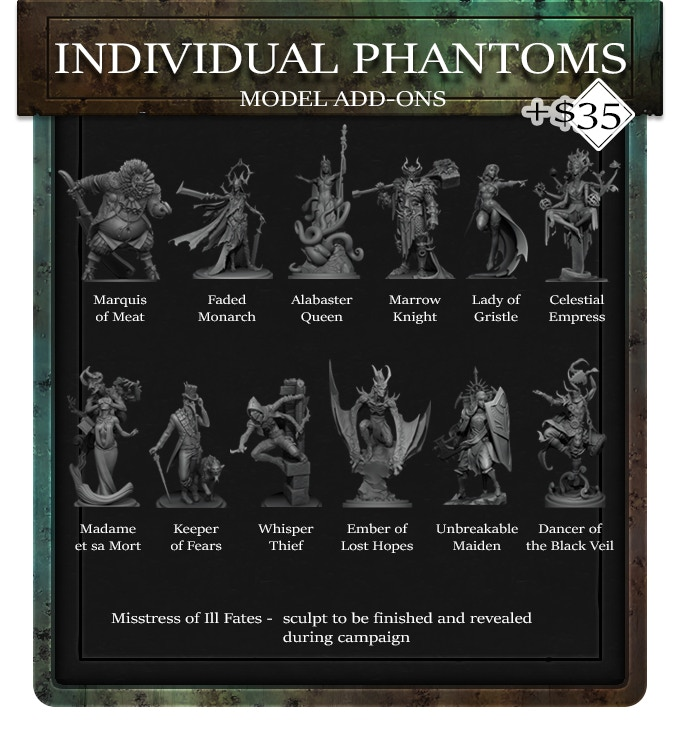 Individual Phantoms are now available for purchase. Each Phantom is an additional $35 pledge and comes with all associated gift and passive cards.