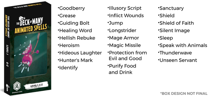 The Deck of Many Animated Spells: DnD 5E Spell Cards by Hit