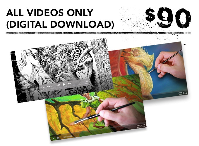 You get the inking, acrylic painting, and oil painting videos in digital download format.