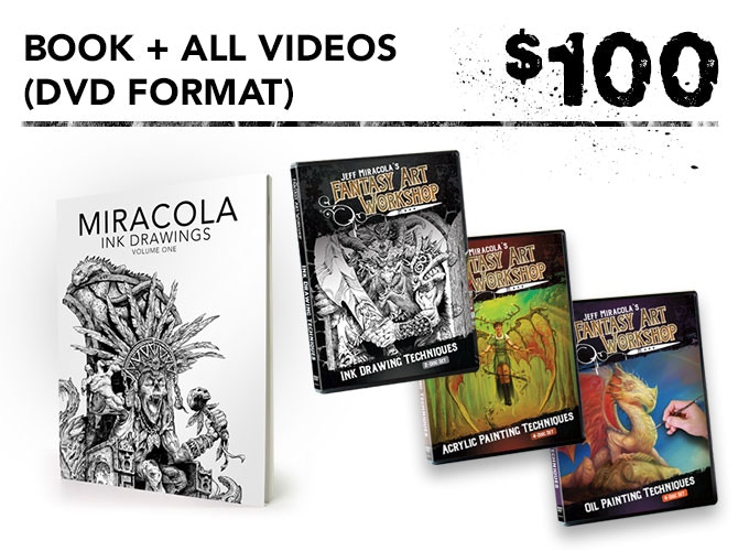 You get one signed art book + the inking, acrylic painting, and oil painting videos in DVD and digital download formats + the free art print.