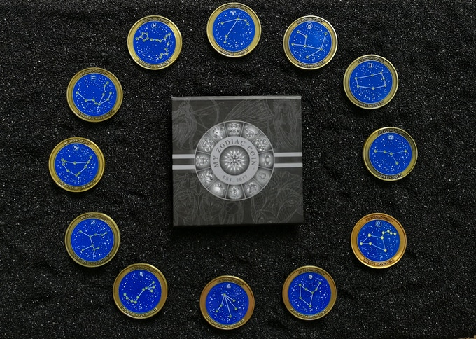 Each zodiac's constellation is displayed on the reverse featuring glow in the dark stars (shown in Antique Gold finish)