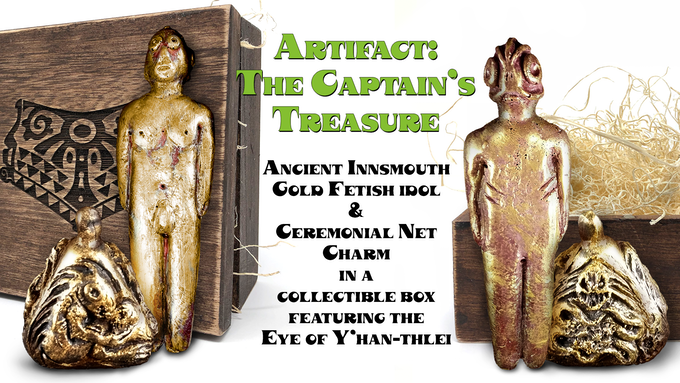 """(L) """"Human"""" side of Innsmouth fetish idol, Ceremonial net charm, used for calling bounty from the sea or signaling concourse with the Deep Ones, and collectible box etched with the Eye of Y'han-thlei. (R) Deep One side of the fetish idol, and a second side of the pyramidal charm, with the open box."""