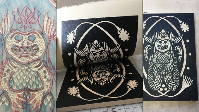 L to R: in-progress carving the block, test print, and nearly final wood block... almost ready to make the 50 limited edition prints of Mother Hydra!