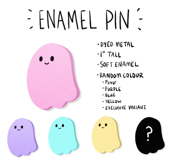 Enamel pin details.