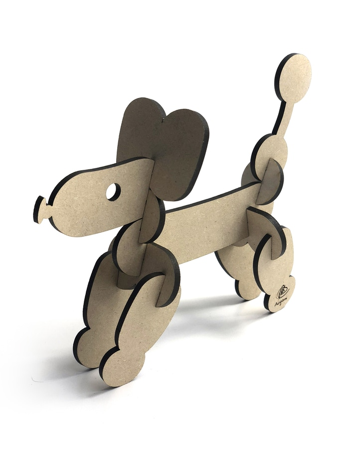 This 3D balloon dog puzzle is made from 12 laser-cut wooden pieces and stands roughly 5 inches tall when complete.